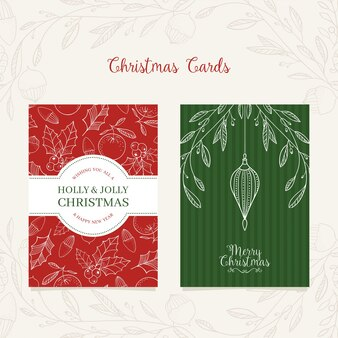 Festive christmas card design with hand drawn christmas elements