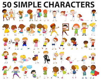 Fifty simple characters doing different activities illustration