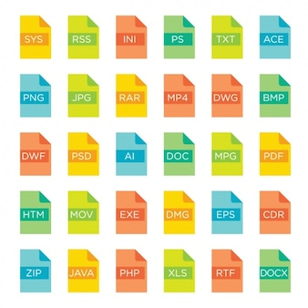 File formats icons full color