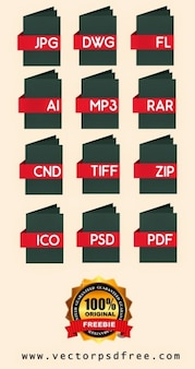 File types icons and folders