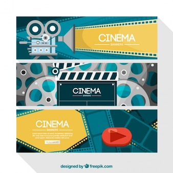 Film banners in flat design