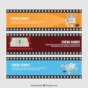 Film banners set in colors
