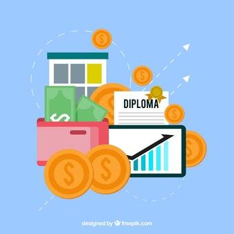 Finances elements with flat design