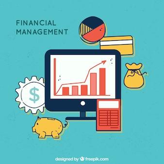 Финансовая концепция с компьютером и элементами