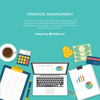 Financial concept with professional desk