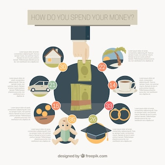 Financial infographic template in flat design