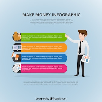 Financial infographic with businessman