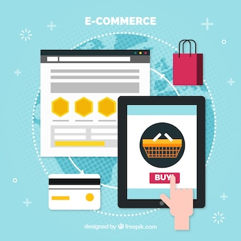Finger buying online with shopping bag and credit card