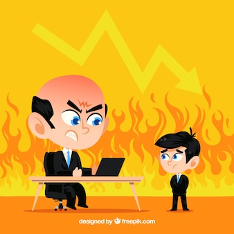 Fire background with boss and employee