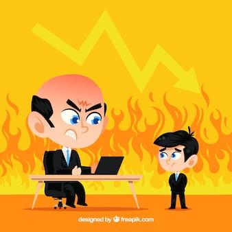 ボスと従業員との火災の背景