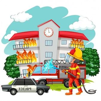 Fireman working background