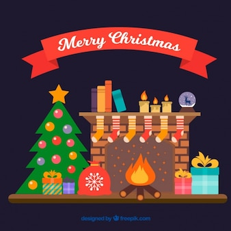Fireplace background with christmas decoration in flat design