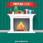 Fireplace background with christmas ornaments