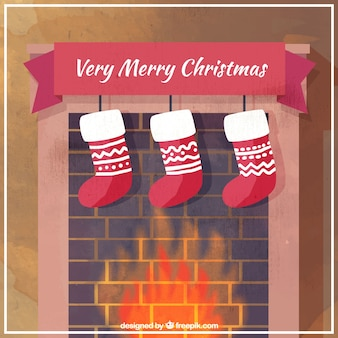 Fireplace background with christmas socks