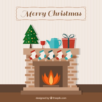 Fireplace background with cute christmas decoration