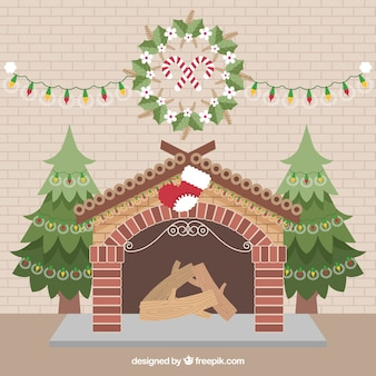 Fireplace background with nice christmas decoration