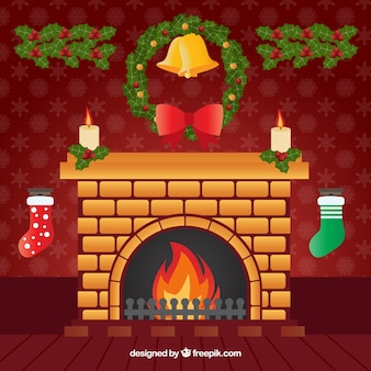 Fireplace background with wreath and ornaments