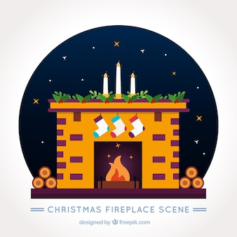 Fireplace decorated with christmas socks and candles background