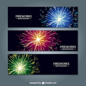 Fireworks vector banners