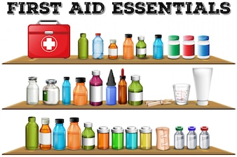 First aid essentials on the shelf illustration