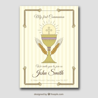 First communion card with hand drawn chalice