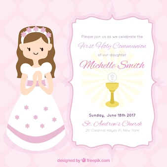 First communion girl  invitation