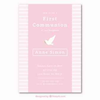 First communion invitation with dove