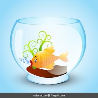 Fish cartoon in fishbowl