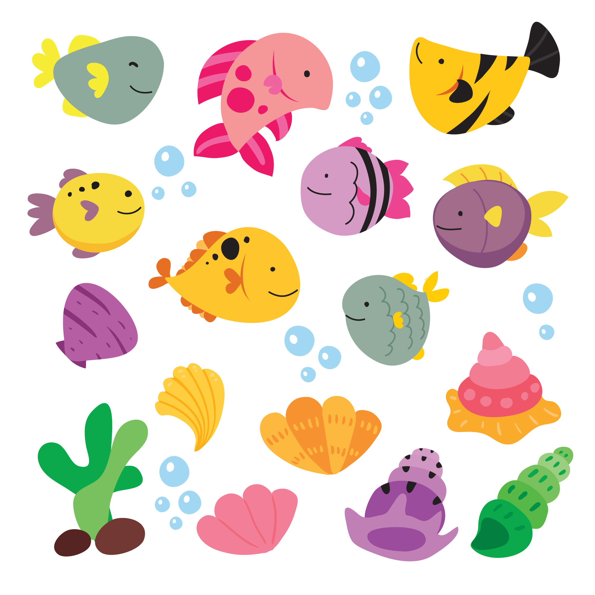 Fishes illustration collection