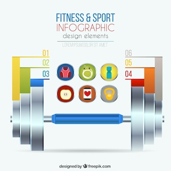 Fitness and sport infographic equipment