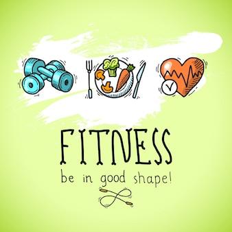 Фитнес-элементы, ручной обращается стиль