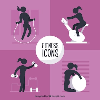 Fitness icons for woman collection