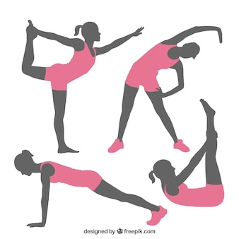 Fitness poses silhouettes
