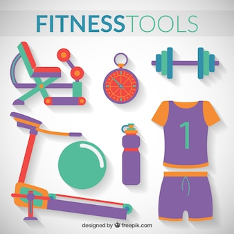 Fitness tools pack in a flat style