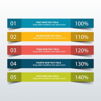 Five colorful banners for infographic