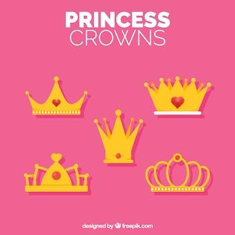 Five golden crowns in flat design
