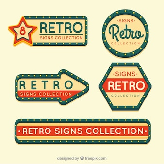 Five outdoor signs, vintage style