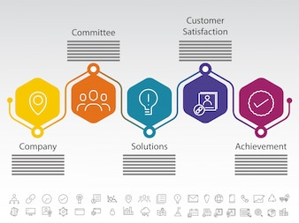 Five steps of company success, Timeline Infographics layout with icons set, in black and white version.