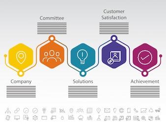 Пять шагов успеха компании, временная раскладка Timeline с набором значков, в черно-белой версии.