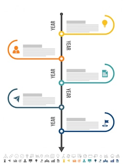 Five steps, Timeline Infographics layout with icons set, in black and white and colorful versions.
