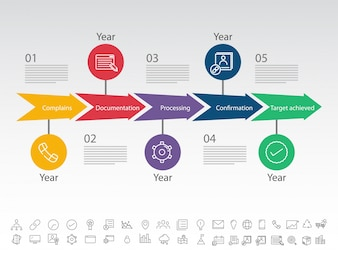 Five steps, Timeline Infographics layout with icons set, in black and white version.