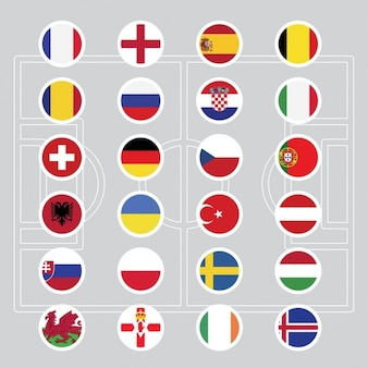 Flags of euro 2016 football