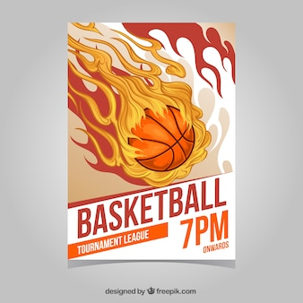 Flaming basket ball brochure