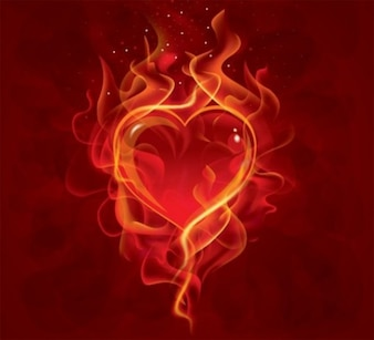 Flaming glass heart background