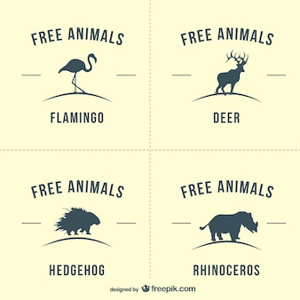Flamingo, deer, hedgehog and rhino silhouette