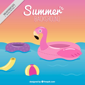 Flamingo float with elements summer background