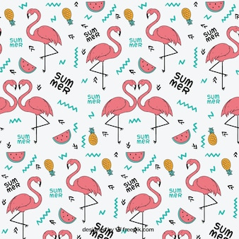 Flamingo pattern with summer fruits