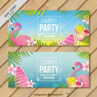 Flamingo summer party banners