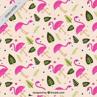 Flamingos and leaves pattern in flat design