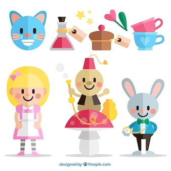 Flat Alice in Wonderland characters